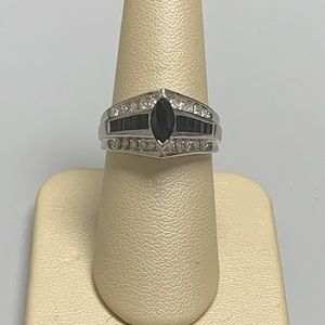 Jewelry - 14K White Gold Sapphire and Diamond Ring Size 7